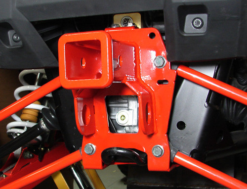 PZ2948, Installed (Red) - This hitch is shown to illustrate the general design and mounting for Thunderhawk Double-Shear Hitches; that actual PZ2906 hitch is shown in the studio photo