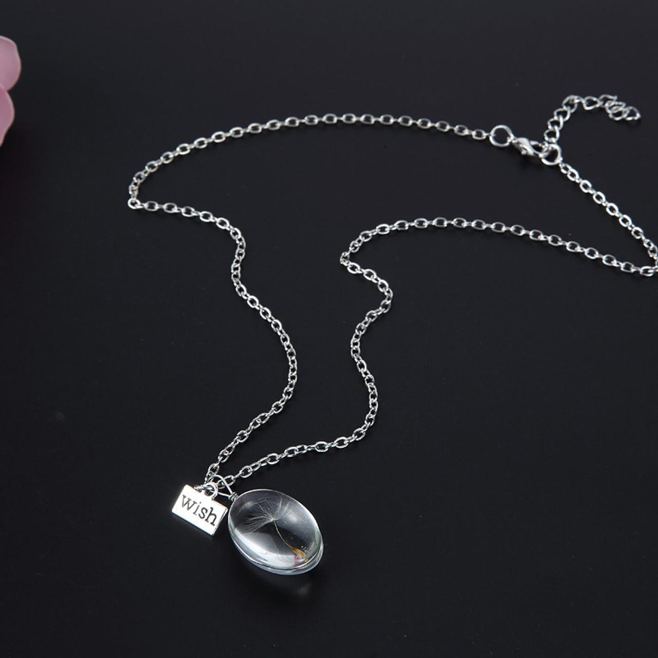 Oval Dandelion Wish Necklace