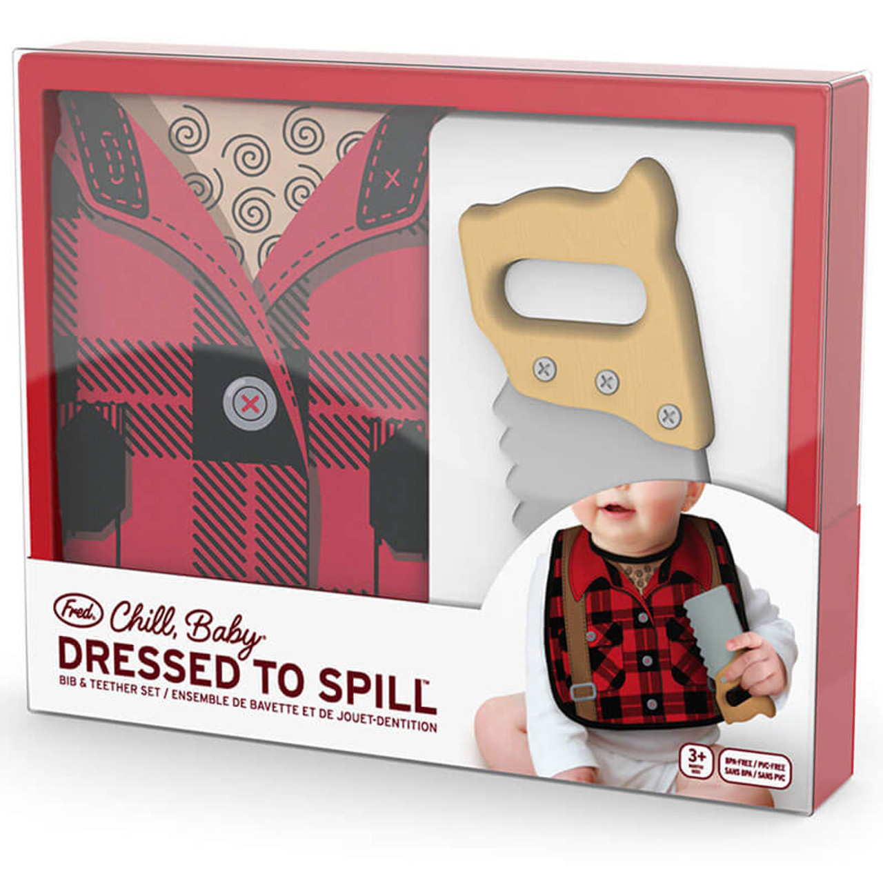 Dressed To Spill Lumberjack Bib + Teether Set
