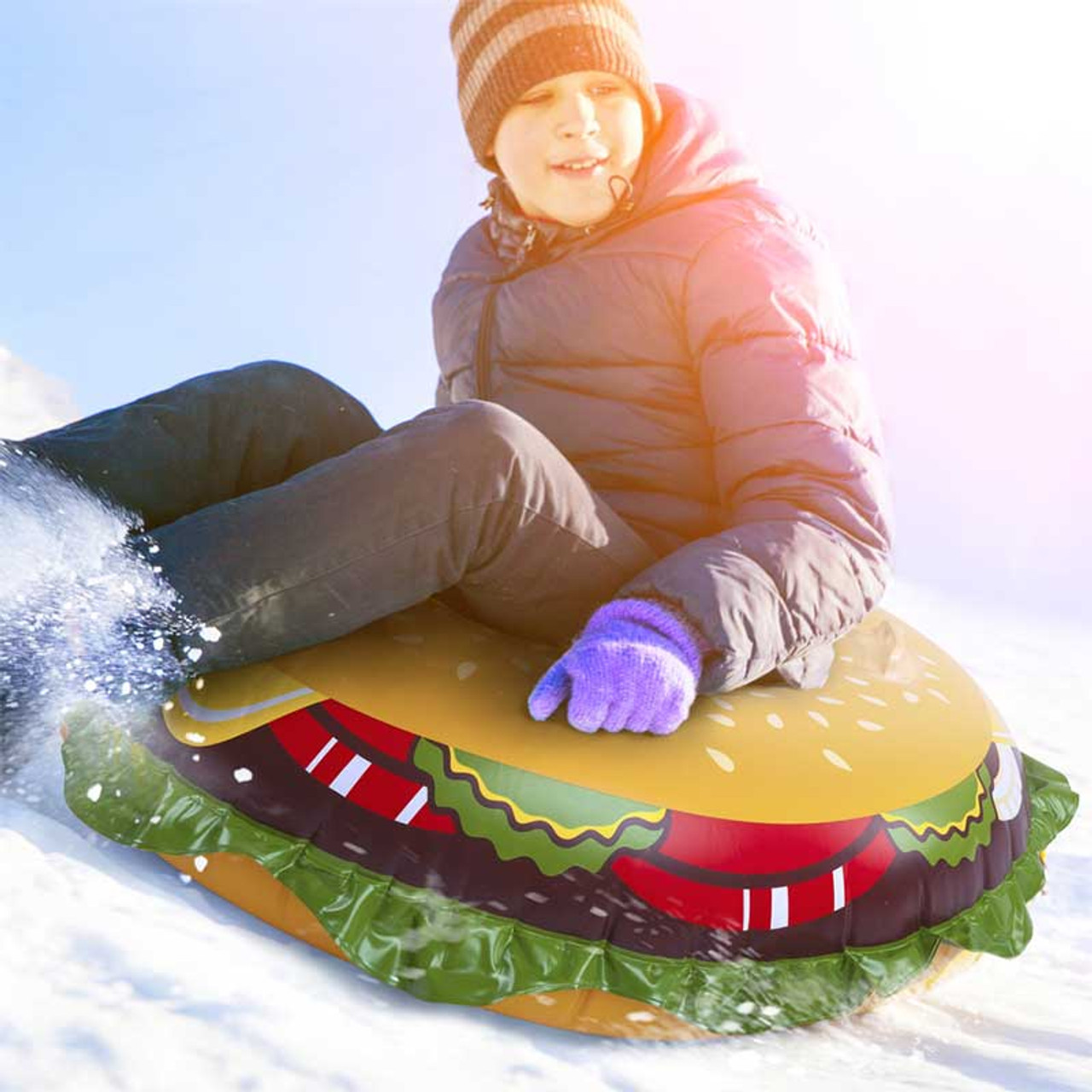 Giant Inflatable Cheeseburger Snow Tube