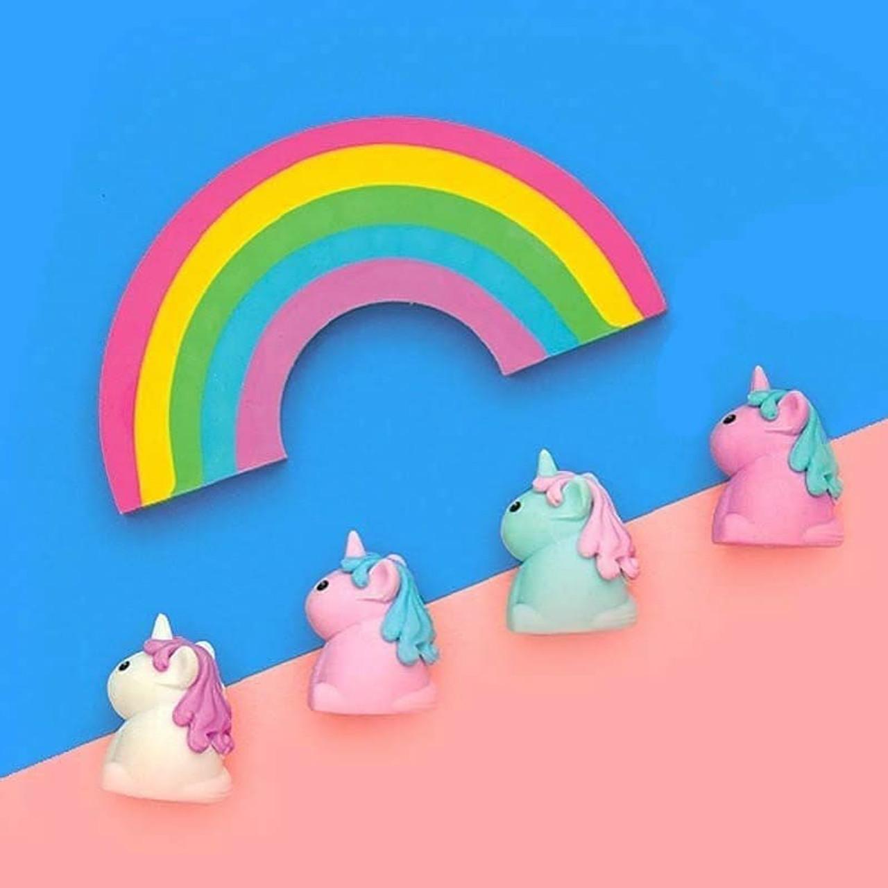 Unique Unicorn Strawberry Scented Erasers//Rubbers 4 Unicorns /& Large Rainbow