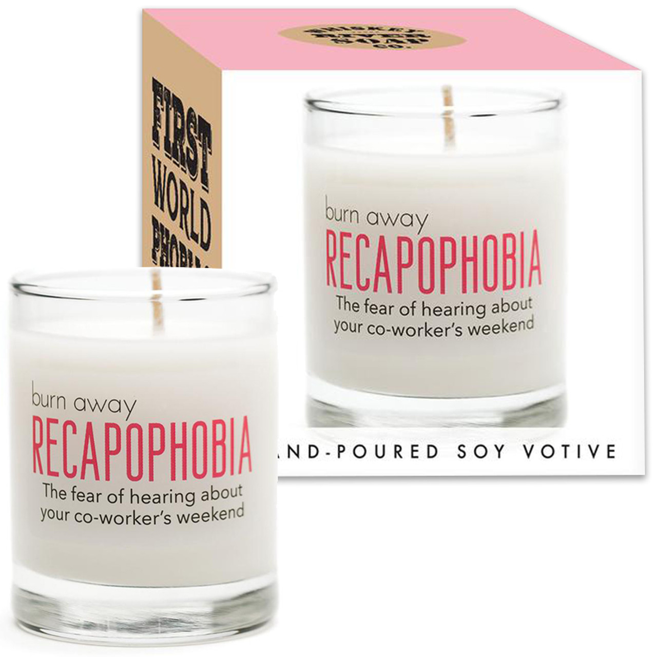 RECAPOPHOBIA Hand Poured Soy Votive Candle
