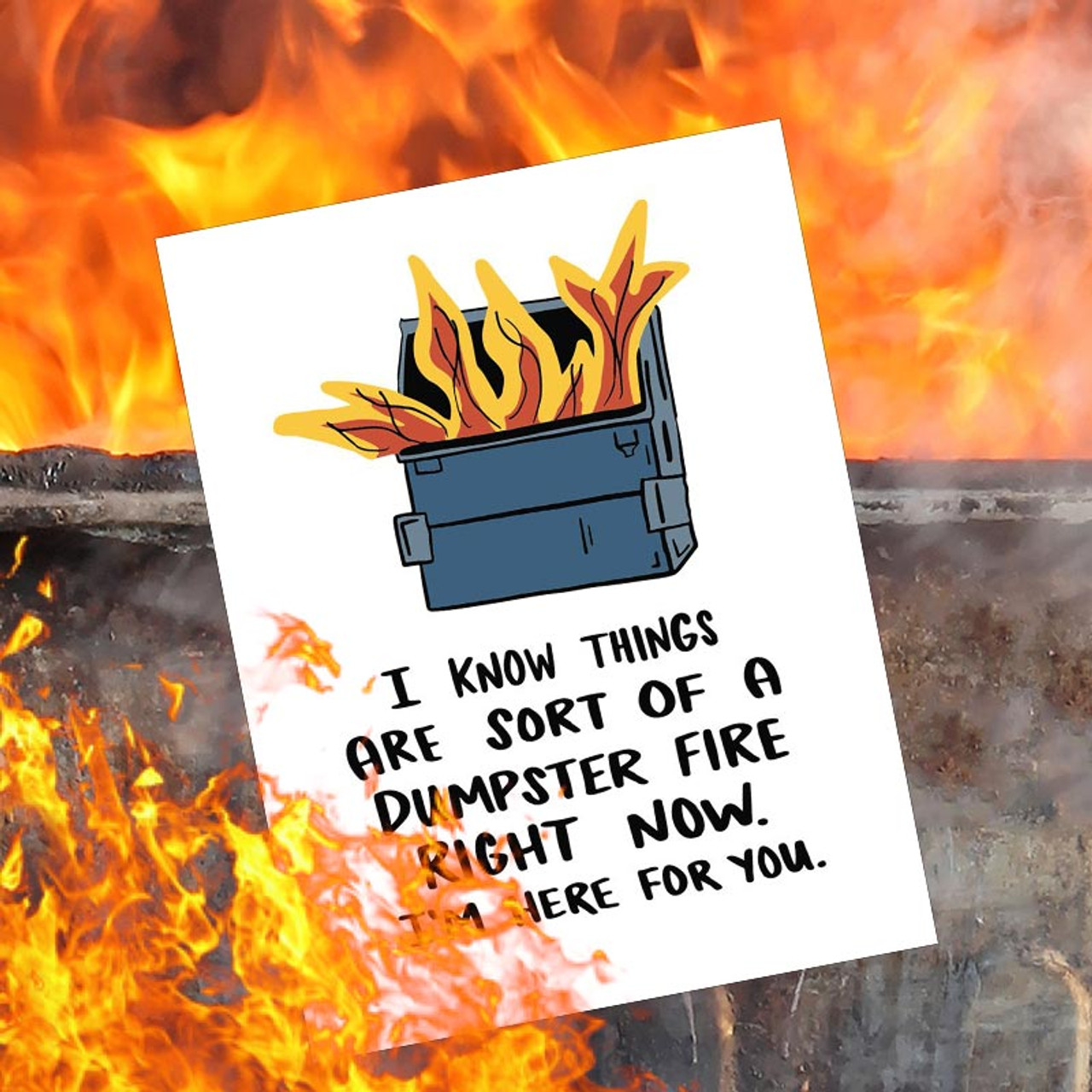 I Know Things Are Sort Of A Dumpster Fire Greeting Card