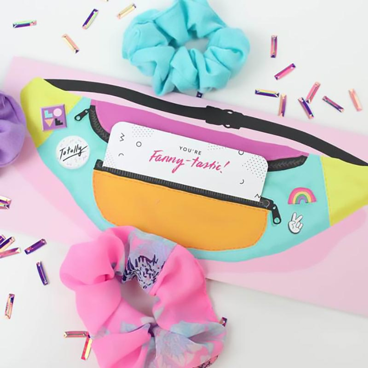 1980's Retro Fanny Pack Greeting + Money Holder Card