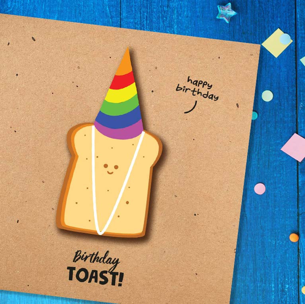 Party Hat Wearing Birthday Toast Greeting Card!