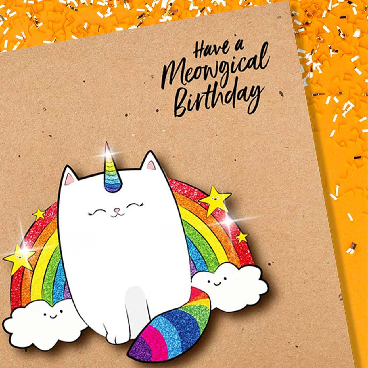 Cat / Unicorn / Rainbow Trifecta Meowgical Birthday Glitter Greeting Card
