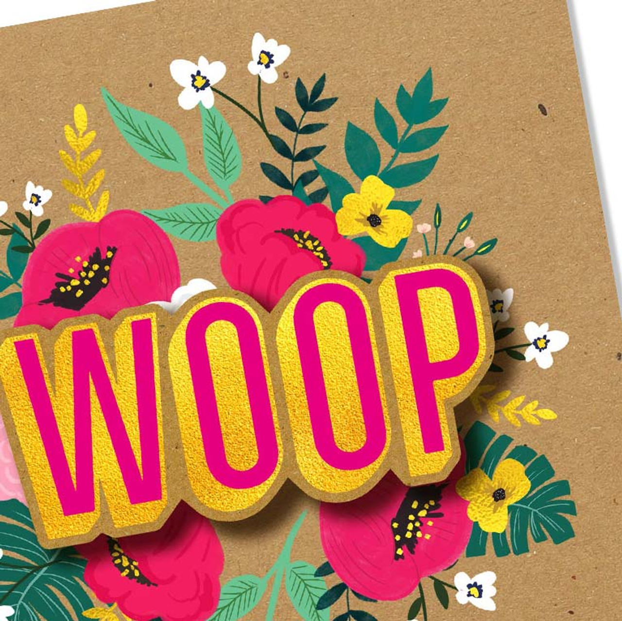 Woop Flower Greeting Card Handmade by Tache