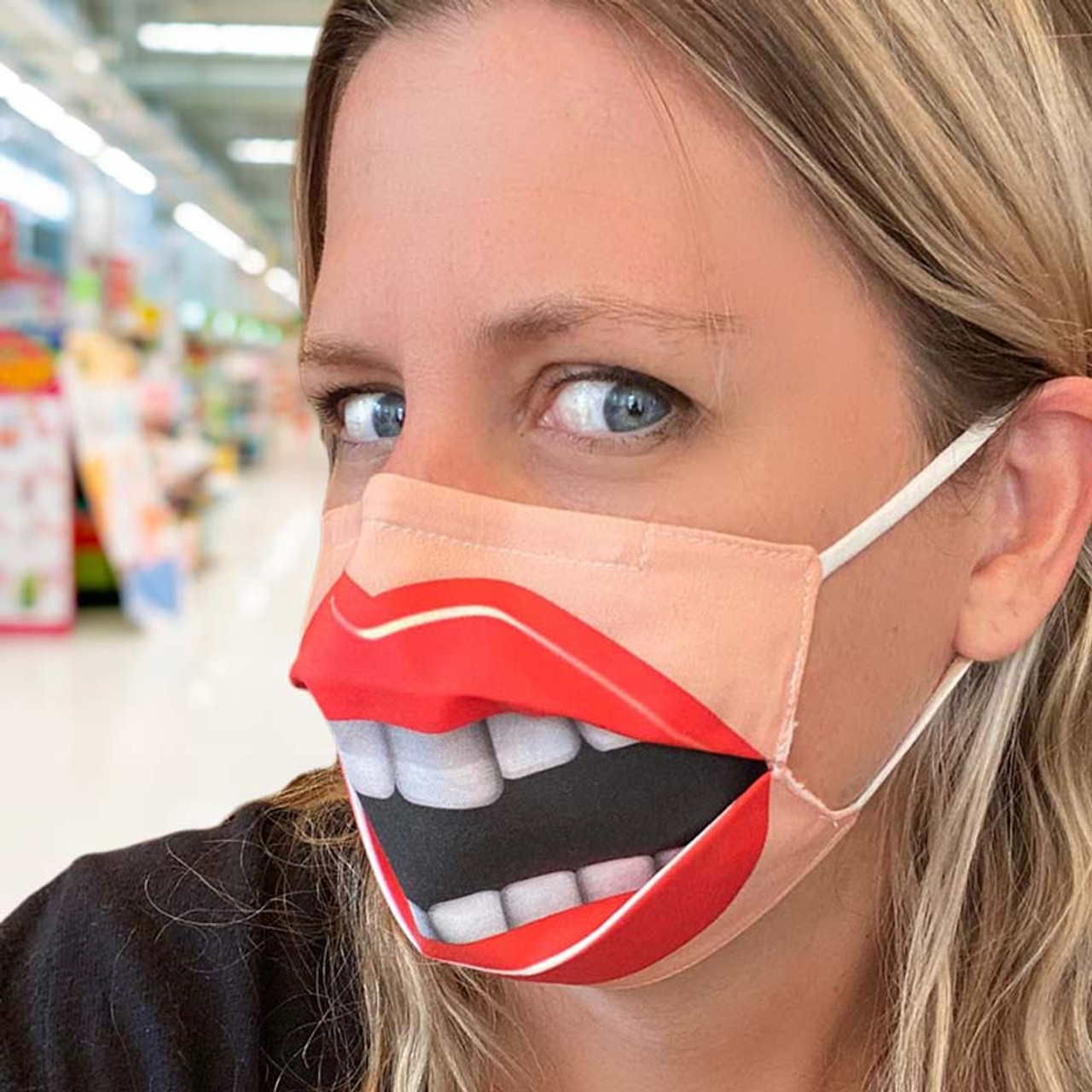 Instant Smile Face Mask - Reveals a funny open mouth.