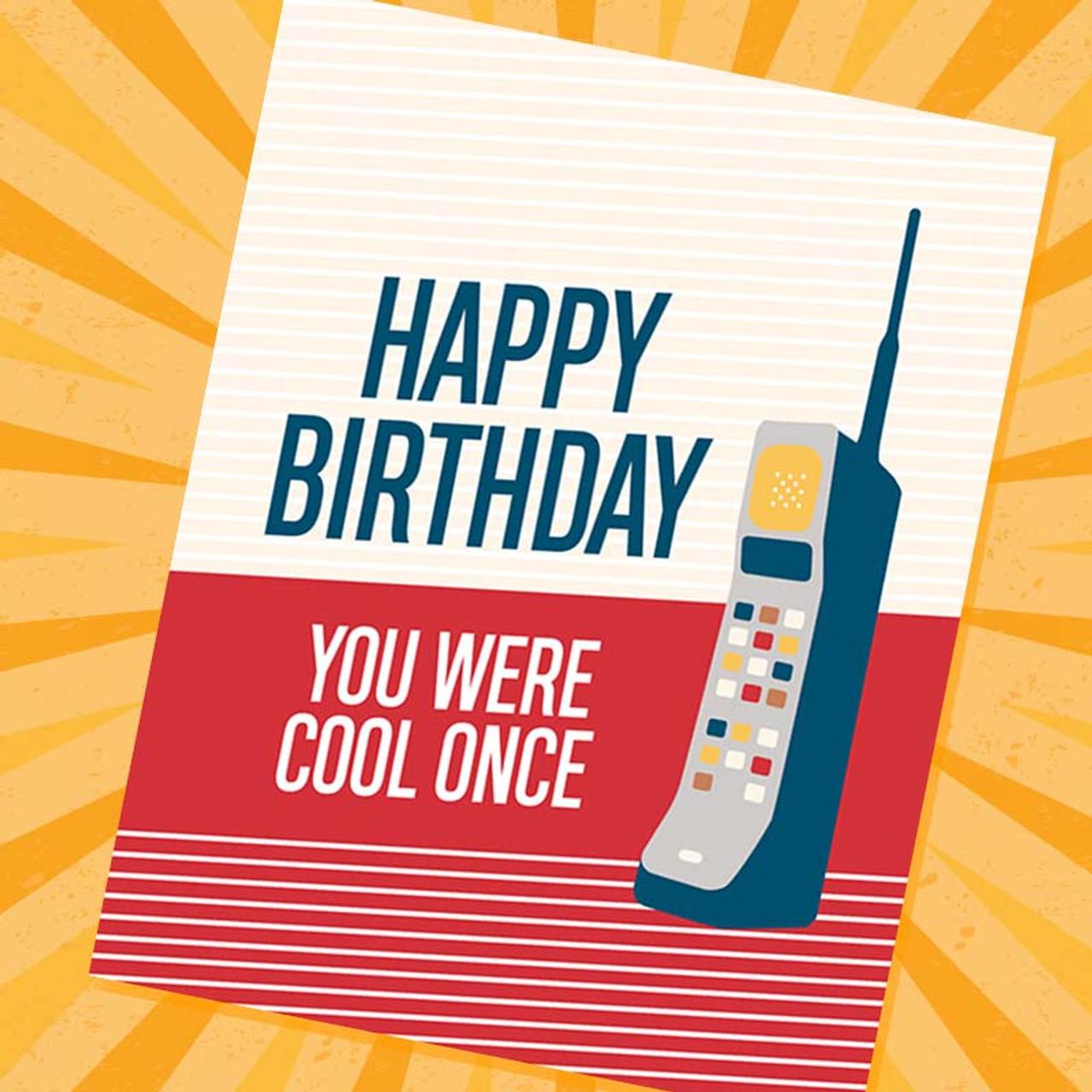 Retro Car Phone - Funny Birthday Card -