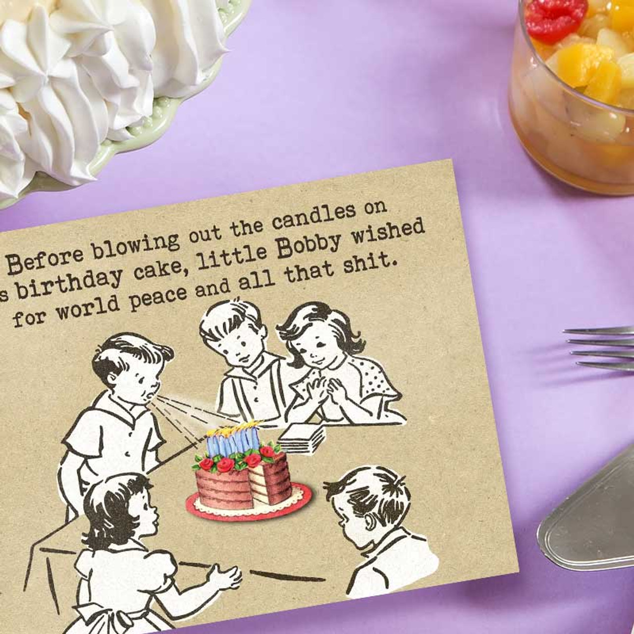 Retro Birthday Card for World Peace