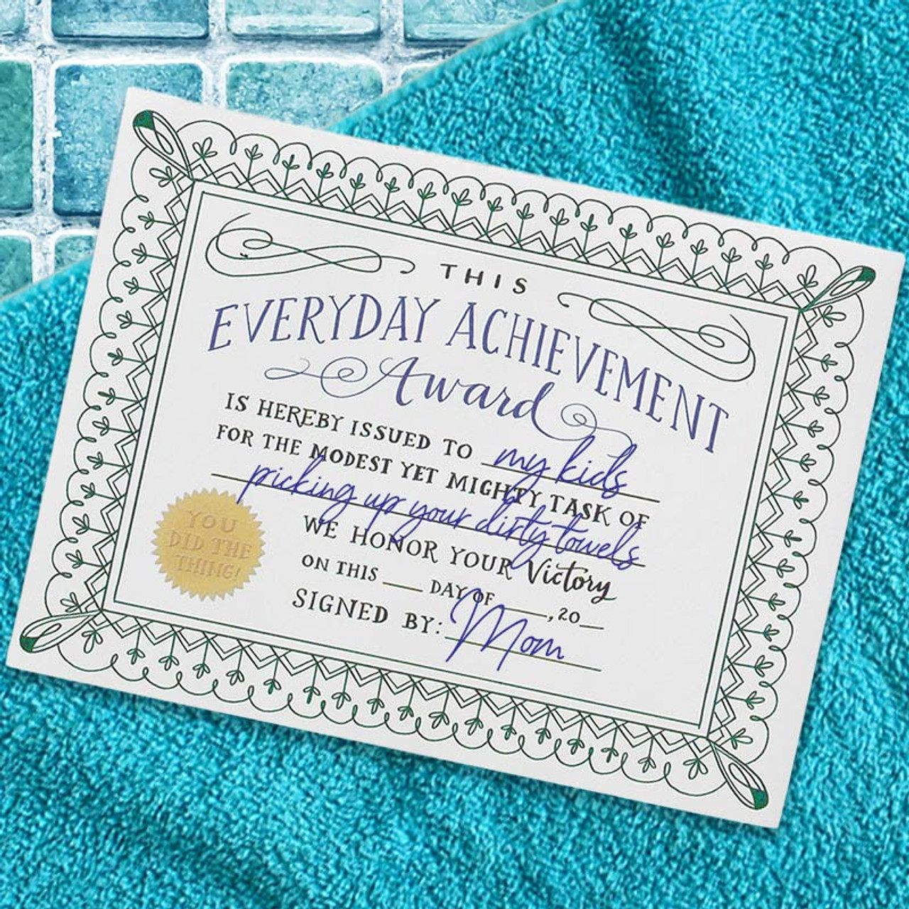 Achievement Award Notepad for big and small moments!