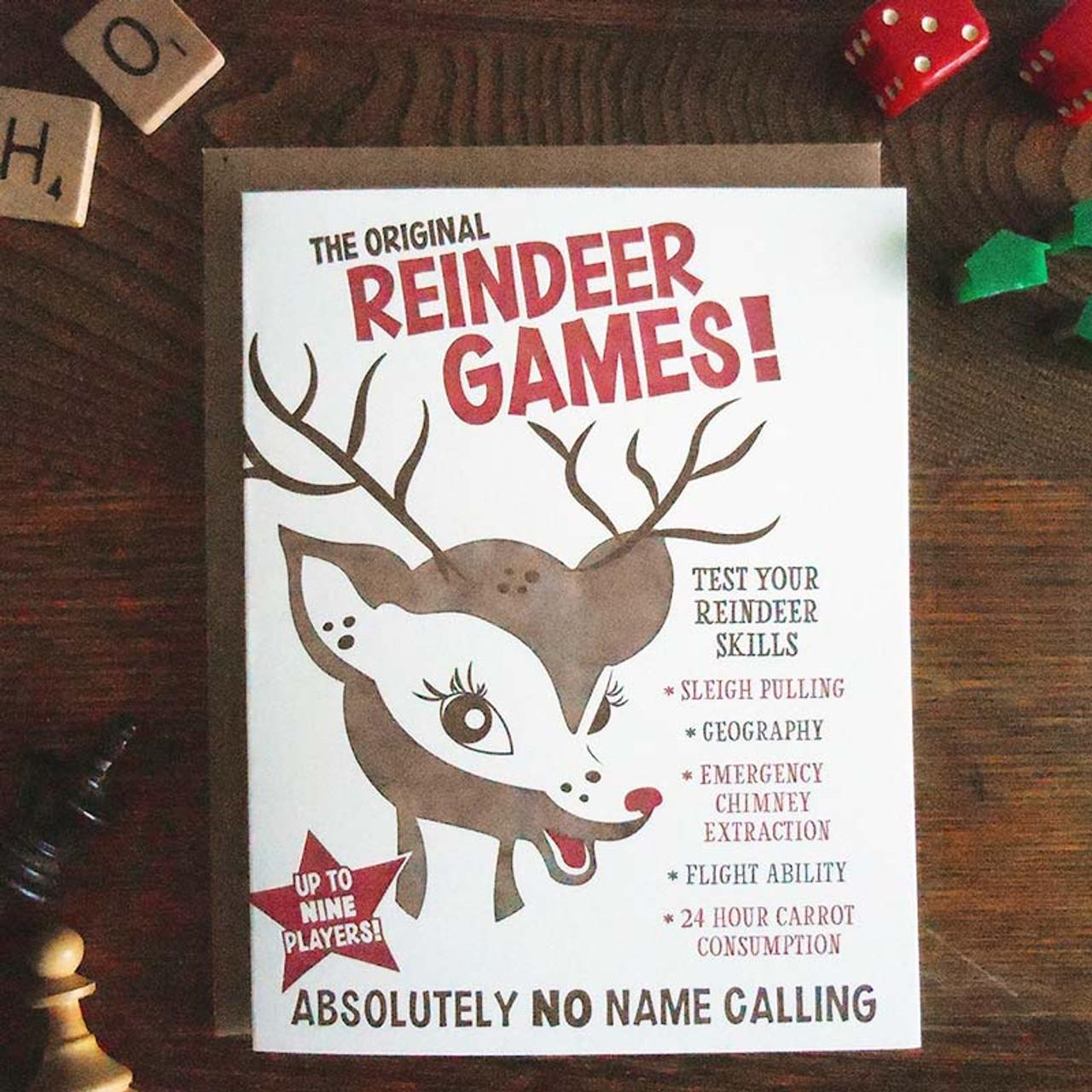 Vintage Styled Retro Reindeer Games Christmas Card