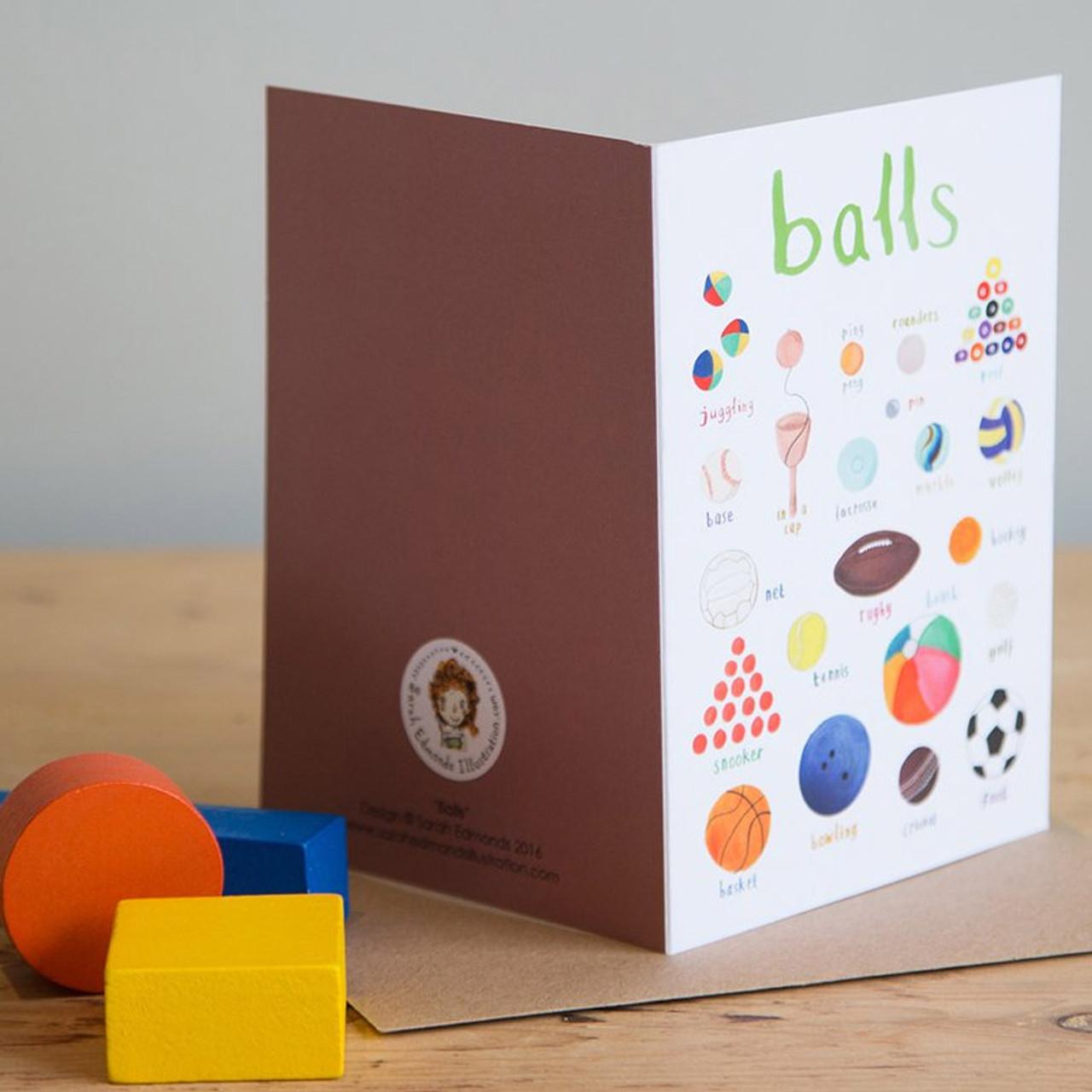 Balls Greetings Card Sarah Edmonds Illustration