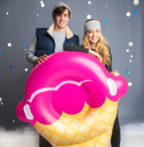 BIG MOUTH GIANT ICE CREAM CONE SNOW TUBE SLED