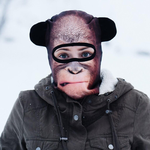 CONTEMPLATING ORANGUTAN WINTER SNOW MASK