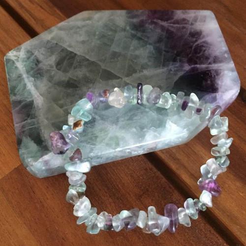 Genuine Fluorite Positive Energy Crystal Bracelet