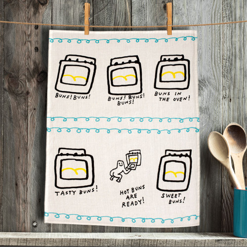 Hot Buns, Tasty Buns, Sweet Buns Are Ready Dish Towel