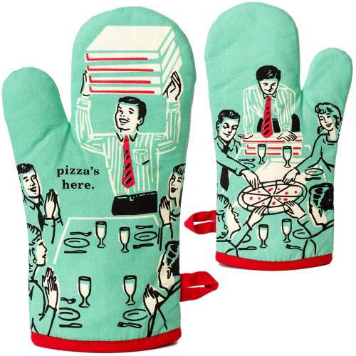 Pizza's Here BlueQ Oven Mitt