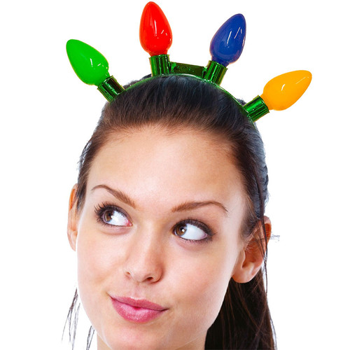Jumbo Flashing Christmas Bulb Headband