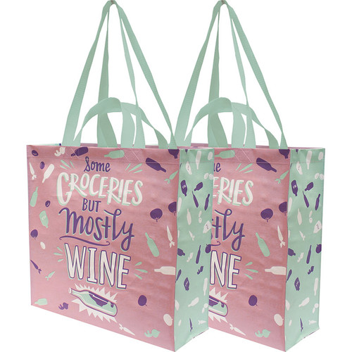Some Groceries But Mostly Wine Market Tote