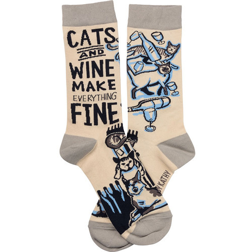 Cats And Wine Make Everything Fine Socks
