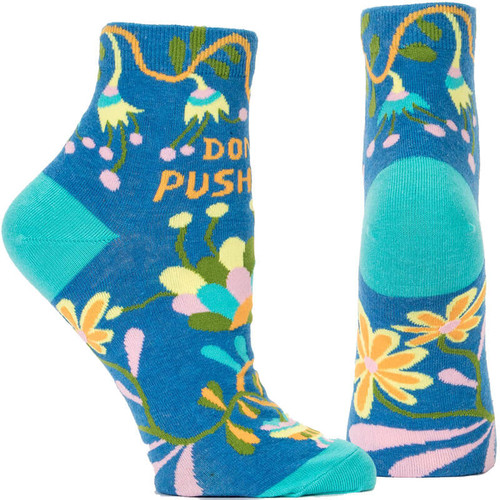 Don't Push Me Blue Q Ankle Socks