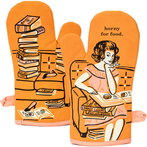 Horny For Food Blue Q Oven Mitt