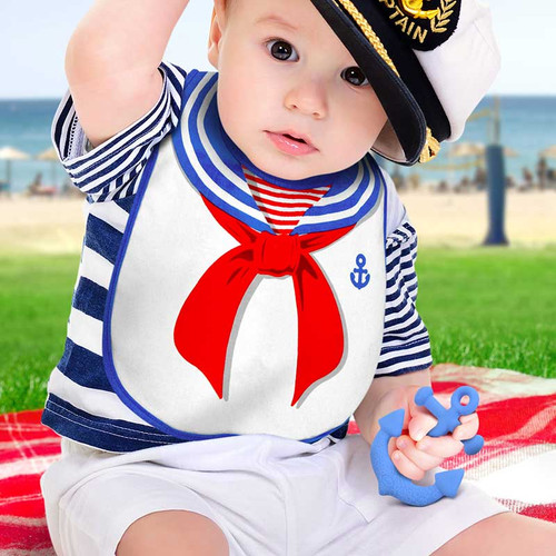 Dressed To Spill Sailor Bib + Teether Set