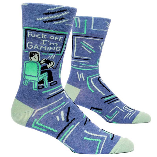 Blue Q Fuck Off, I'm Gaming Men's Crew Socks