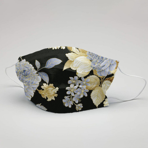 Floral Face Mask With Metallic Fabric