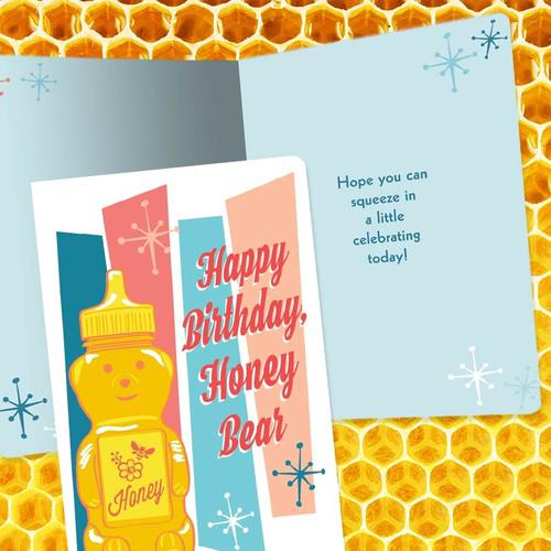 Happy Birthday Honey Bear Retro Greeting Card - Buy Online