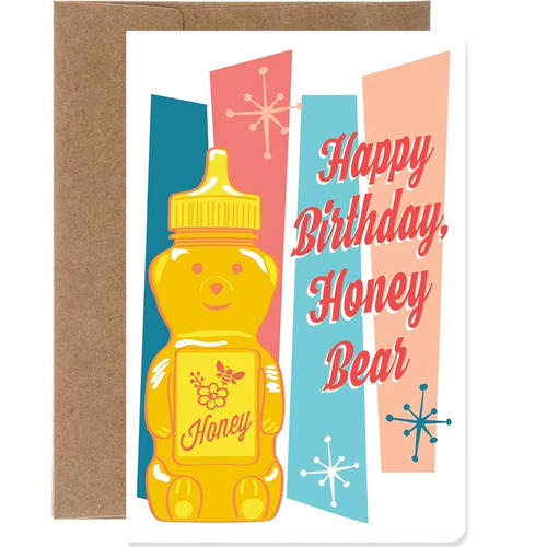 Happy Birthday Honey Bear Retro Greeting Card