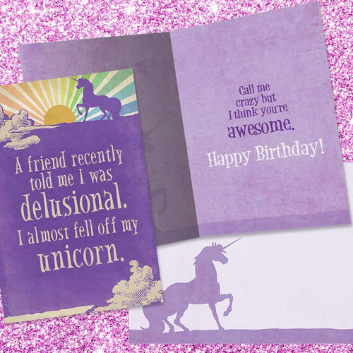 I Almost Fell Off Unicorn Birthday Card