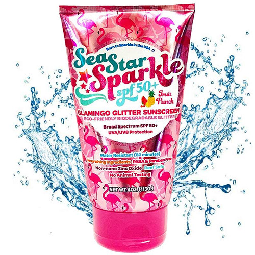 Reef Safe Biodegradable Glamingo Fruit Punch Scented Glitter Sunscreen