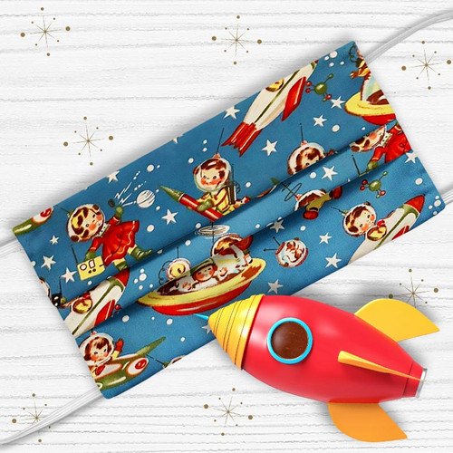 Retro Rocket Rascals in Space Face Mask