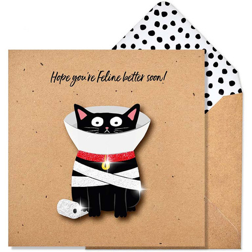 Hope You're Feline Better Soon Glitter Get Well Soon Card