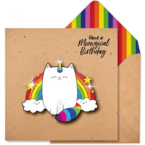 Funny Birthday Card - Have A Meowgical Birthday Glitter Greeting Card - Purchase
