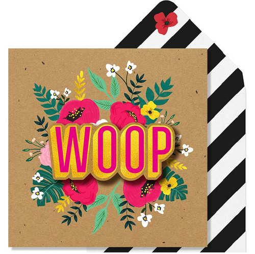 Woop 3D Gold Foil  Greeting Card by Tache
