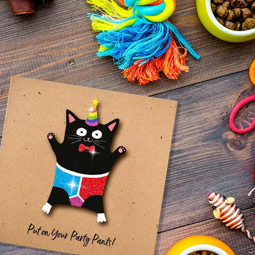 Tache Party Cat   Put On Your Party Pants Glitter Card