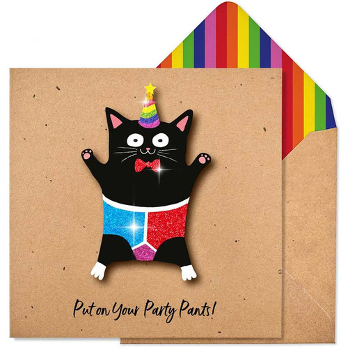 Put On Your Party Pants Glitter Cat Card