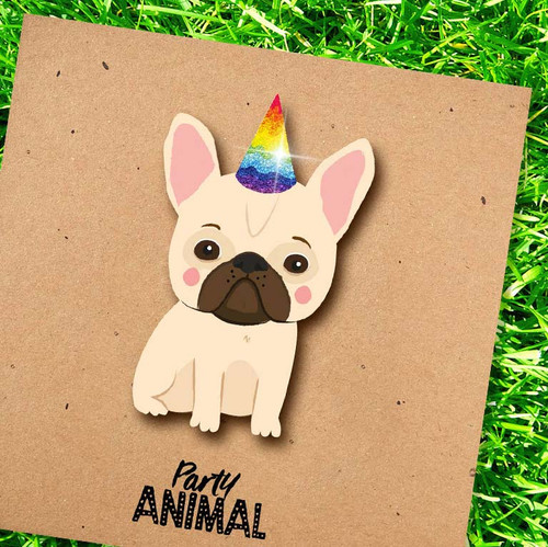 French Bulldog Party Hat Greeting Card