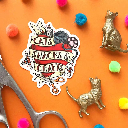 Badass Cats, Snacks + Crafts Tattoo Sticker