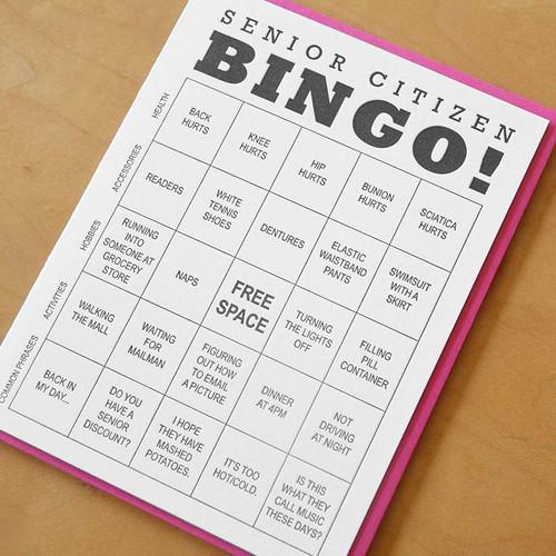 Senior Citizen Bingo Birthday Greeting Card