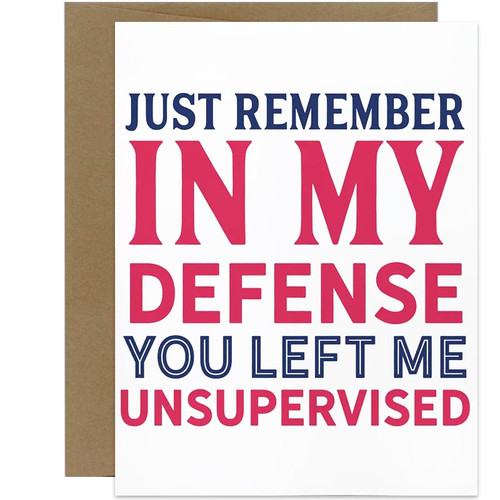 In My Defense You Left Me Unsupervised Greeting Card