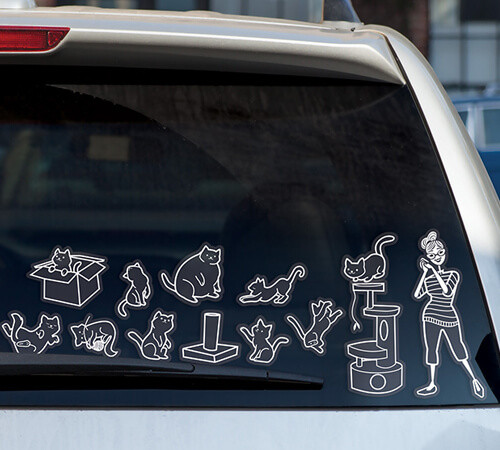 CAT LADY CAR STICKERS