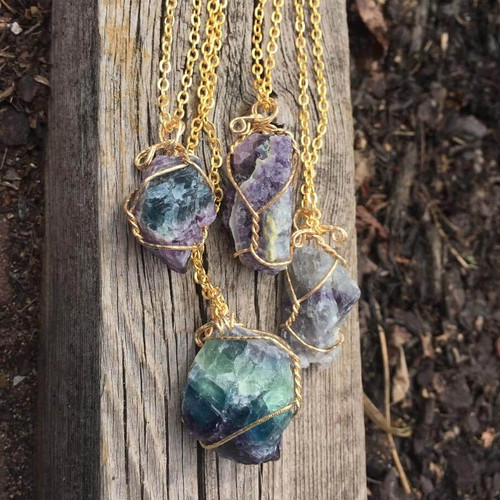 Raw Genuine Fluorite Pendant Necklace