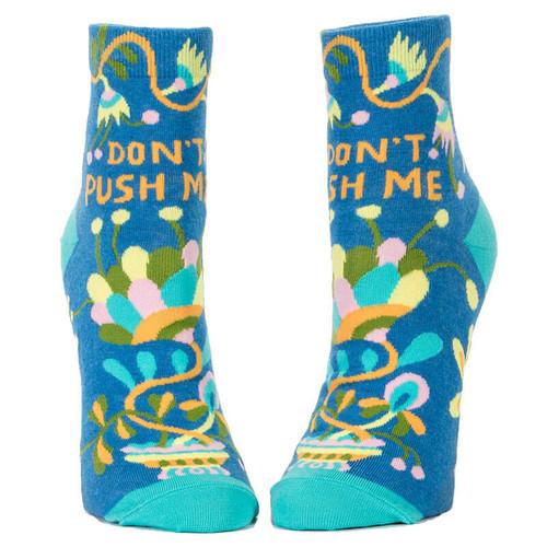 Don't Push Me Blue Q Ankle Socks