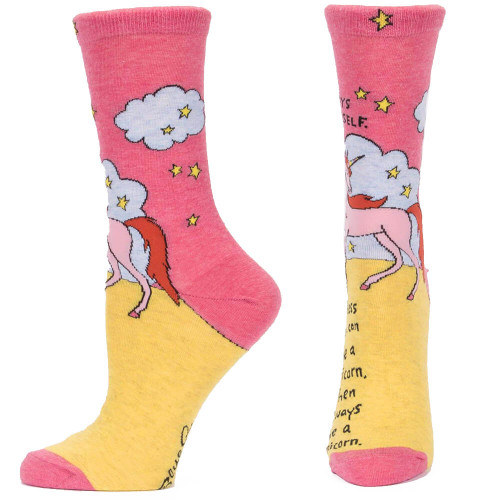 Blue Q Always Be A Unicorn Women's Crew Socks