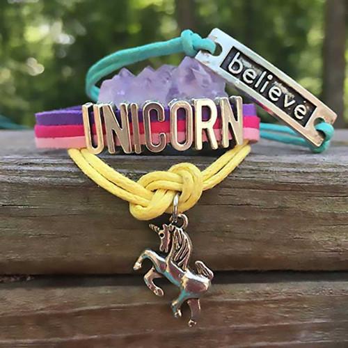 Believe in Unicorns Bracelet + Raw Amethyst Cluster