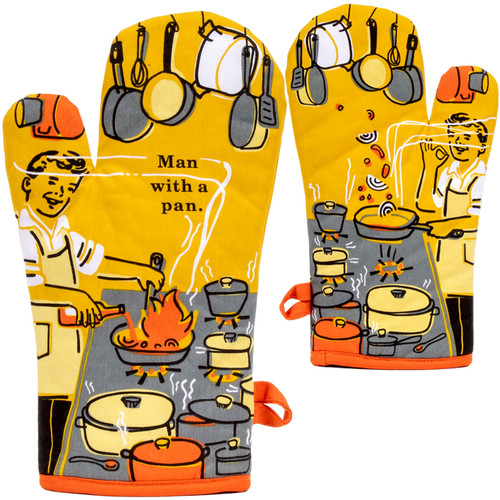 Man Cooking With A Pan Oven Mitt